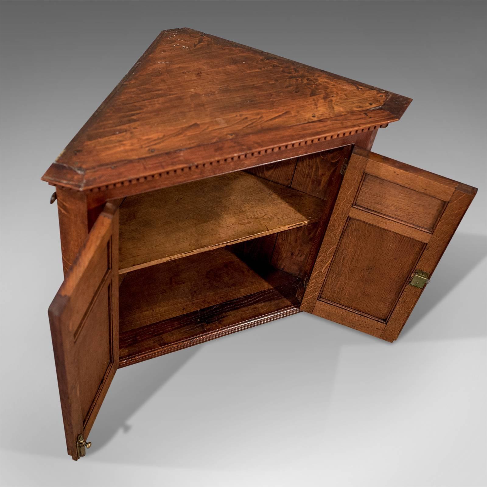 Antique Small Corner Wall Cabinet Cupboard Oak U0026 Amboyna Edwardian, Circa  1910 3
