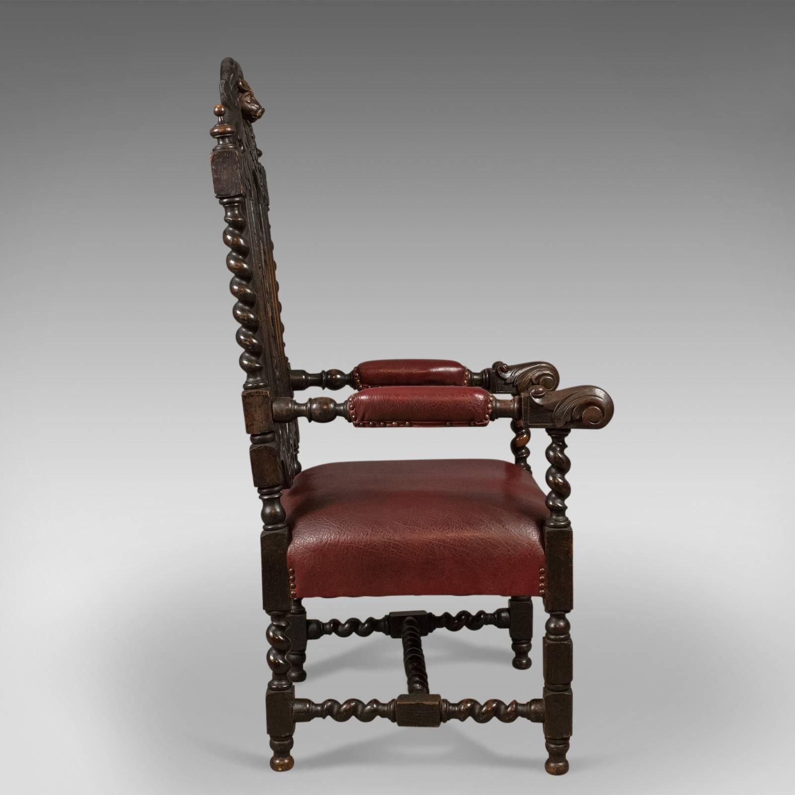 Ordinaire Gothic Revival Antique Lodge Chair, 1913 For Sale
