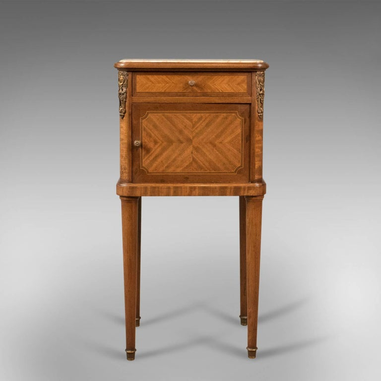 This is a superior example of an antique bedside cabinet, a French marble  top nightstand - Antique Bedside Cabinet For Sale At 1stdibs