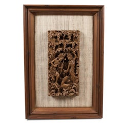 Framed Balinese Carved Wall Panel, Mid-Century Decorative Art