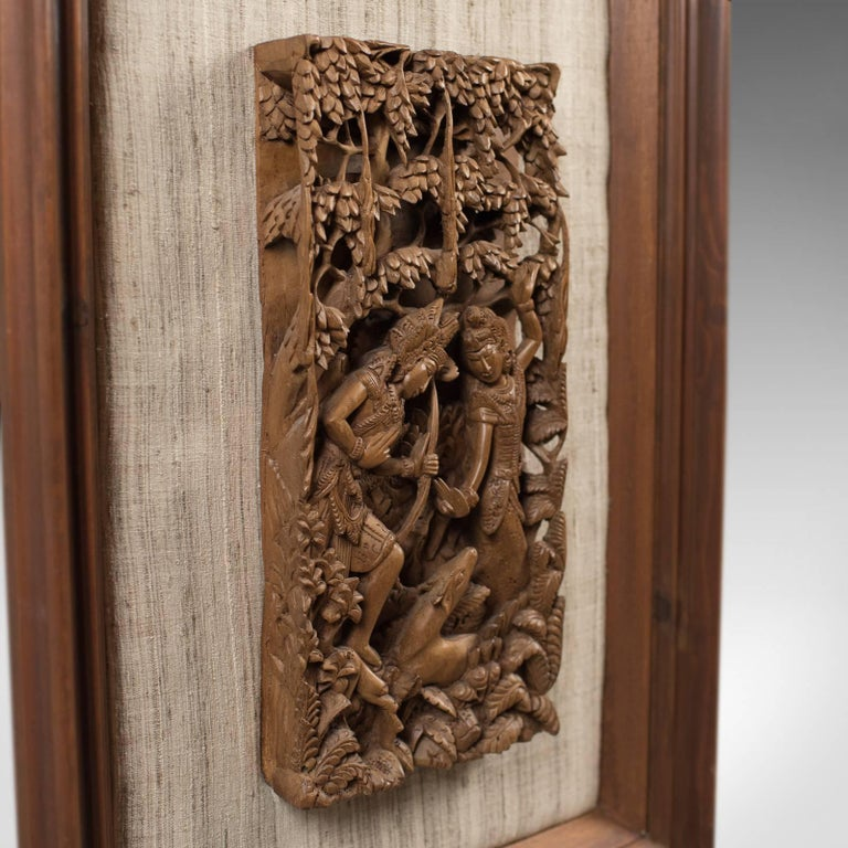 Framed Balinese Carved Wall Panel, Mid-Century Decorative Art For ...