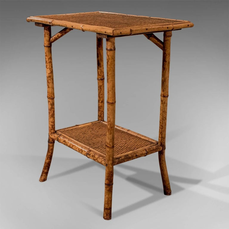 British Colonial Antique Bamboo Lamp Side Table Oriental Victorian Quality Two-Tier, circa 1900