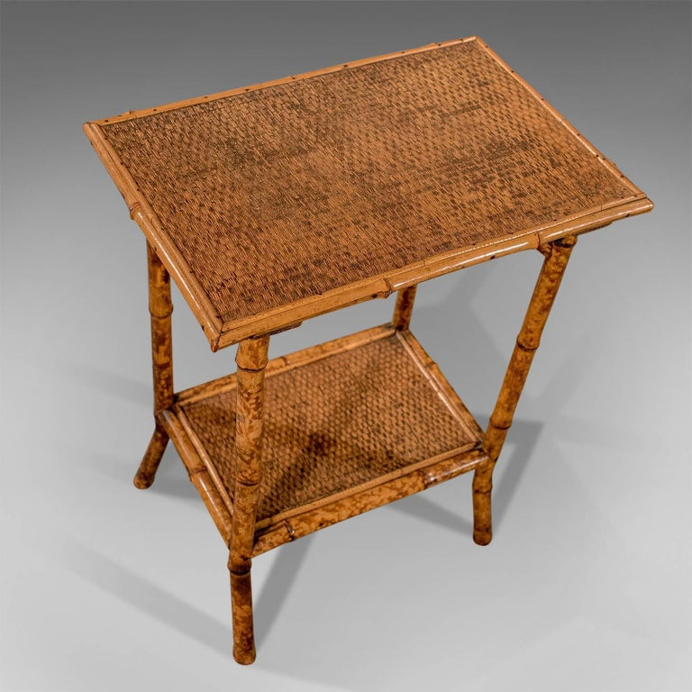 Asian Antique Bamboo Lamp Side Table Oriental Victorian Quality Two-Tier, circa 1900