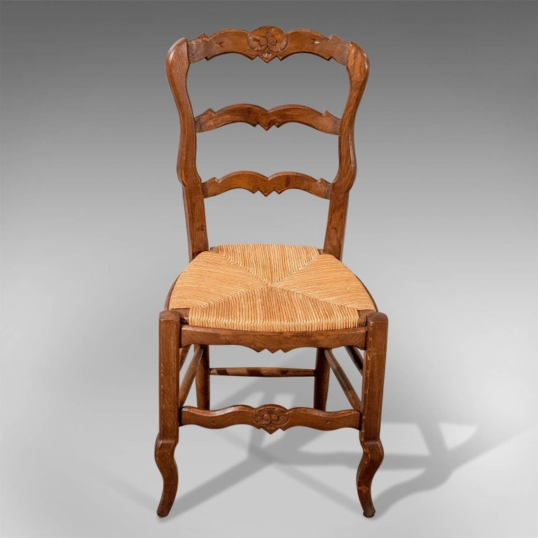 Early 20th Century French Oak Country Kitchen Dining Chairs Set of Six Rush Seats, circa 1900