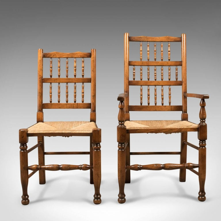 Set of eight dining chairs lancashire spindleback for Best quality dining room furniture