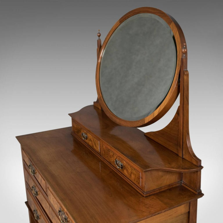 Walnut Antique Dressing Table, Edwardian Vanity Chest of Drawers, English, circa 1910