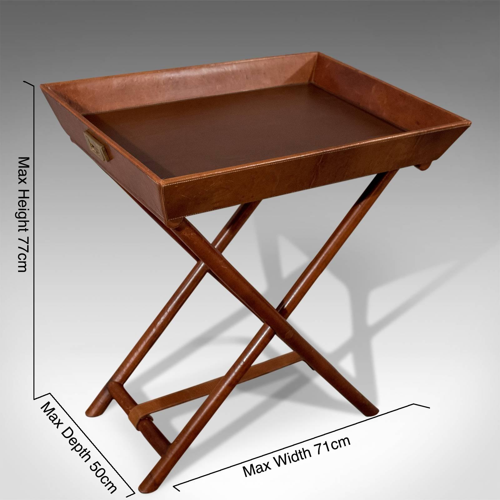 b3aec9e1ea Quality Leather Butlers Stand Tray Side Drinks Occasional Table, 20th  Century