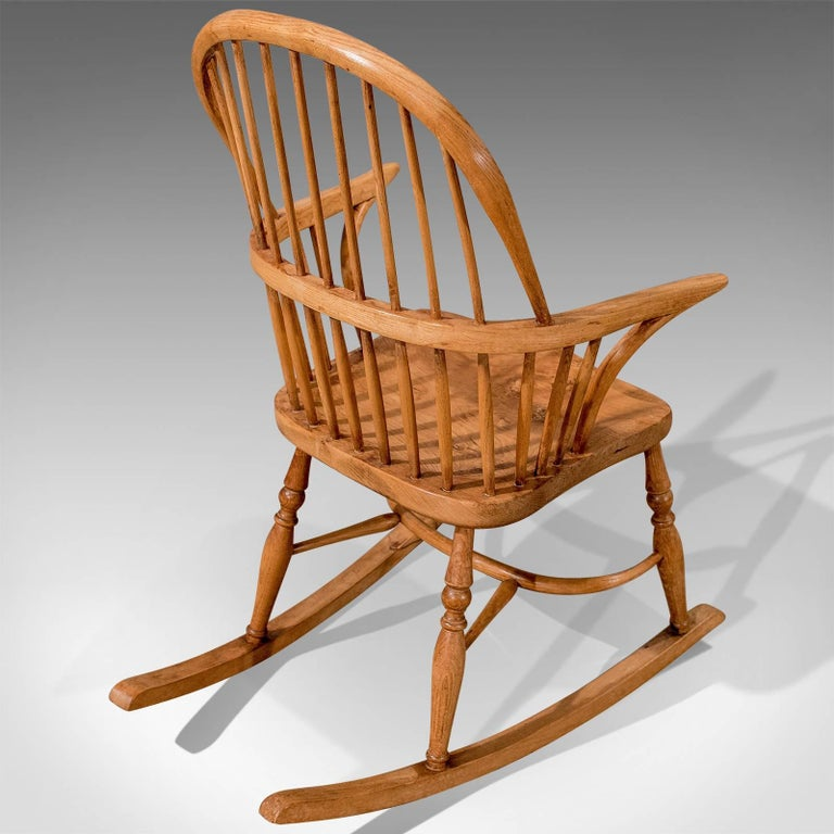 19th Century Antique Windsor Rocking Chair Ash & Elm, Crinoline Stretcher,  English circa 1870 - Antique Windsor Rocking Chair Ash And Elm, Crinoline Stretcher