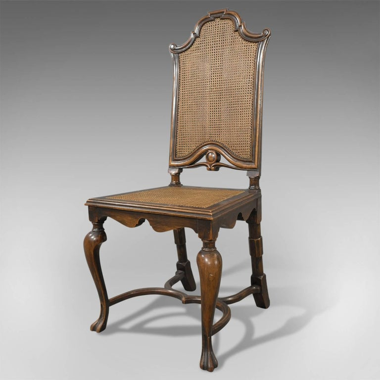 British Antique Set of Six Walnut Bergere Cane Chairs by Liberty of London,  circa 1880 - Antique Set Of Six Walnut Bergere Cane Chairs By Liberty Of London