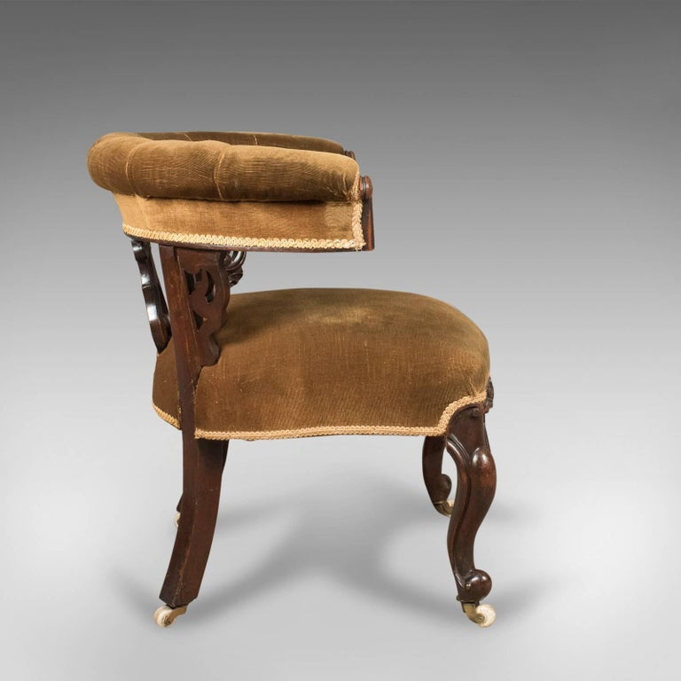 Early Victorian Bow Back Armchair English Walnut Reading
