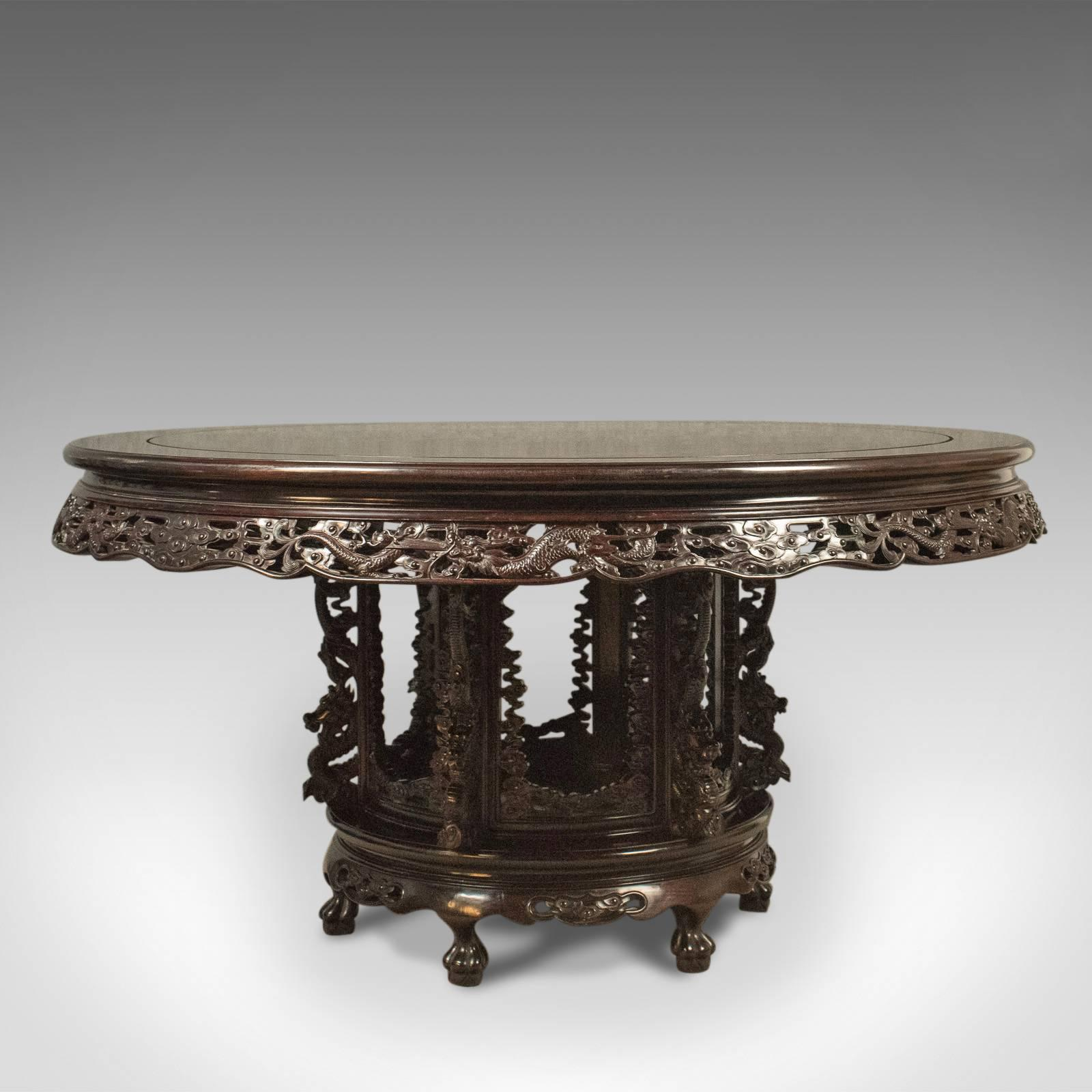 This Is A Traditional, Oriental Rosewood Dining Table And Set Of Six Chairs,  A