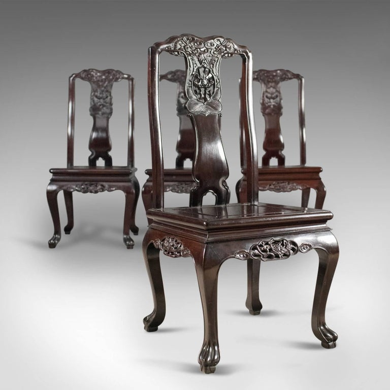 Traditional oriental rosewood set of four dining chairs for Oriental dining room furniture for sale