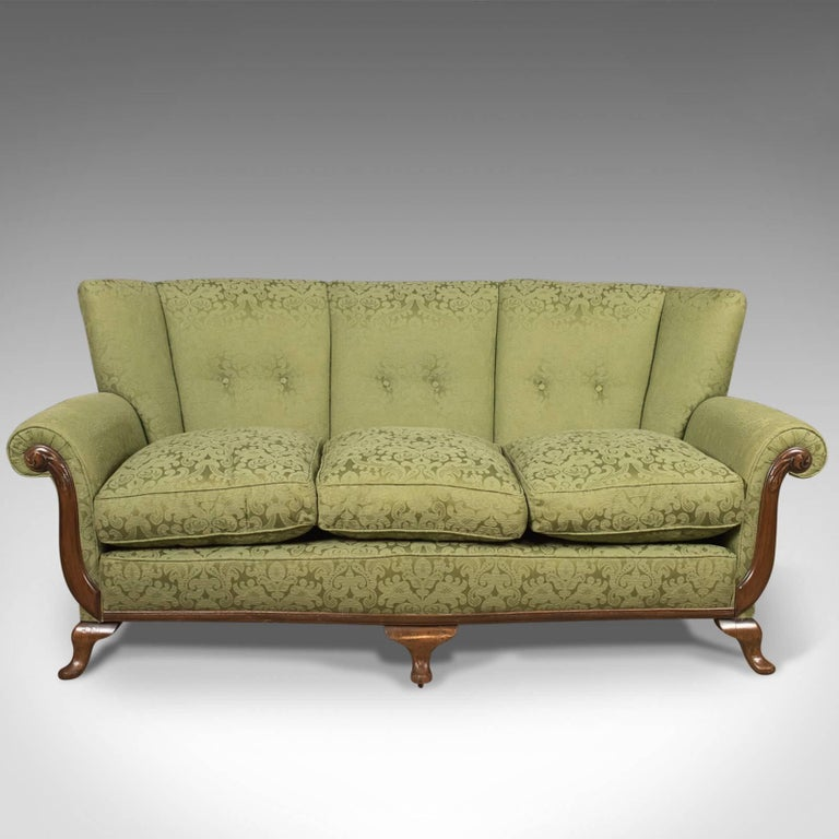 Antique Sofa English Green Edwardian Three Seat Settee Circa 1910 At 1stdibs