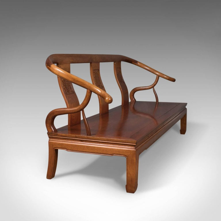 Good Bench Form: Chinese Rosewood Three-Seater Bench In Traditional Form