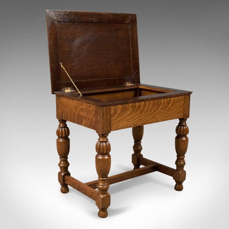 Antique Piano Stool English Oak Music Seat Edwardian
