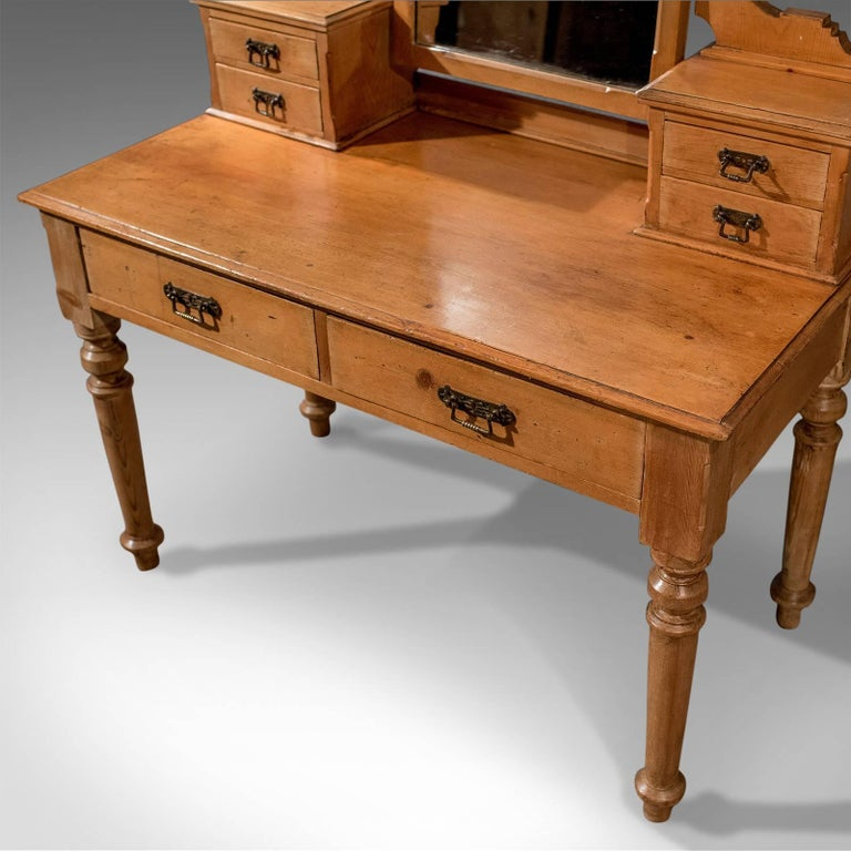20th Century Antique Dressing Table, Victorian Pine, Mirrored Vanity Bedroom Stand