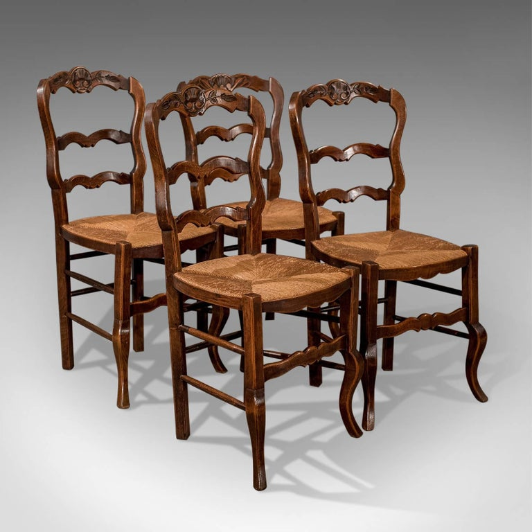 Set of Four Antique Dining Chairs in Dark Beech, French Country Kitchen 4