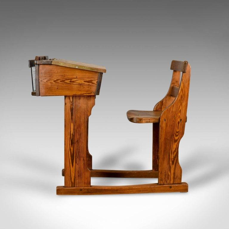 Edwardian Antique School Desk, Elm, Pitch Pine, Geo M Hammer & Co Ltd - Antique School Desk, Elm, Pitch Pine, Geo M Hammer And Co Ltd London