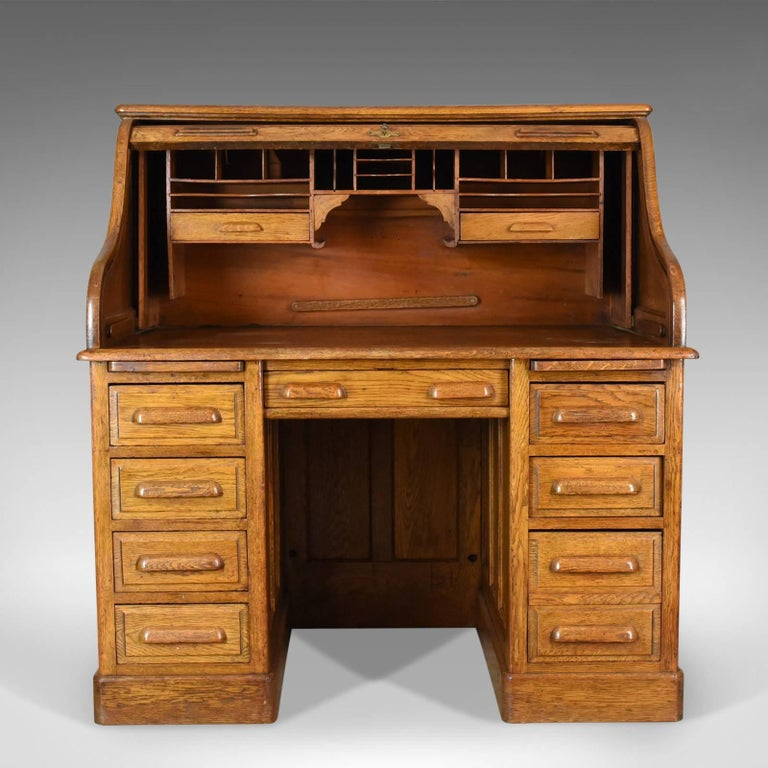 Antique Roll Top Desk, English, Oak, Victorian, Lock, Tambour, circa - Antique Roll Top Desk, English, Oak, Victorian, Lock, Tambour, Circa