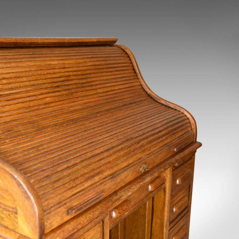 Antique Roll Top Desk, English, Oak, Victorian, Lock, Tambour, circa - Antique Roll Top Desk, English, Oak, Victorian, Lock, Tambour, Circa