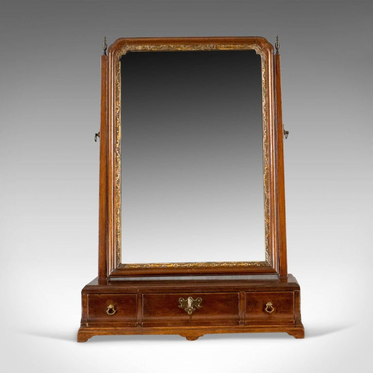 This is an antique dressing table mirror, an English, Georgian, mahogany,  toilet - Antique Dressing Table Mirror, English Georgian, Mahogany, Toilet