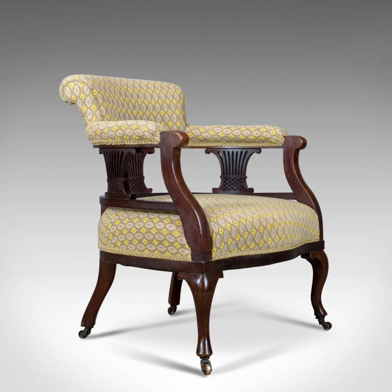 This is a pair of antique salon chairs, English, Victorian scroll back  bedroom armchairs - Pair Of Antique Salon Armchairs, English, Victorian, Scroll Back