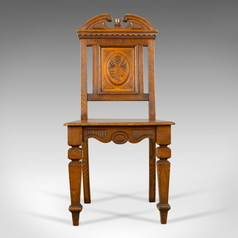 This is an antique hall chair in oak, a Scottish, Victorian side chair  dating - Antique Hall Chair, Oak, Scottish, 19th Century, Circa 1870 At 1stdibs