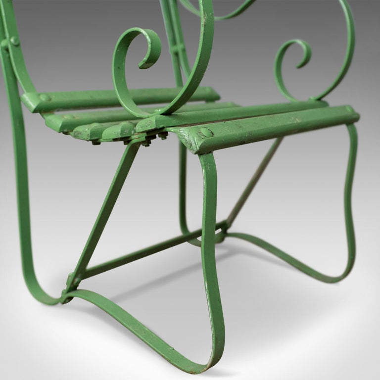 Pair of Antique Garden Chairs, Painted, English Victorian, Iron, Hardwood  For Sale - Pair Of Antique Garden Chairs, Painted, English Victorian, Iron