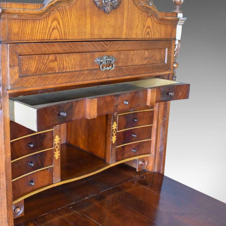 Victorian Antique Bureau Desk, French, Escritoire, Oak, 19th Century, circa 1870