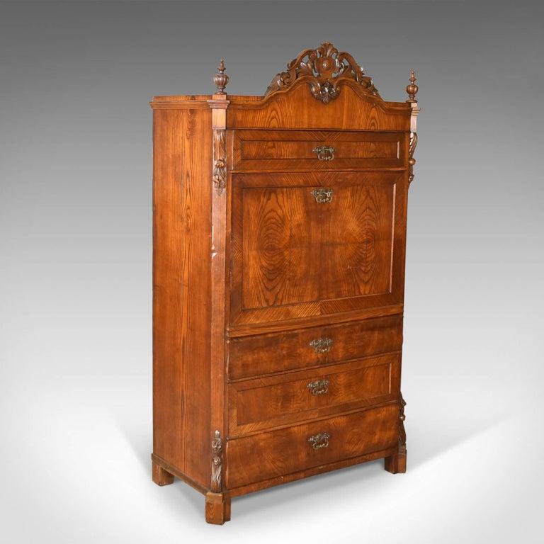 Antique Bureau Desk, French, Escritoire, Oak, 19th Century, circa 1870 In Good Condition In Hele, Devon, GB