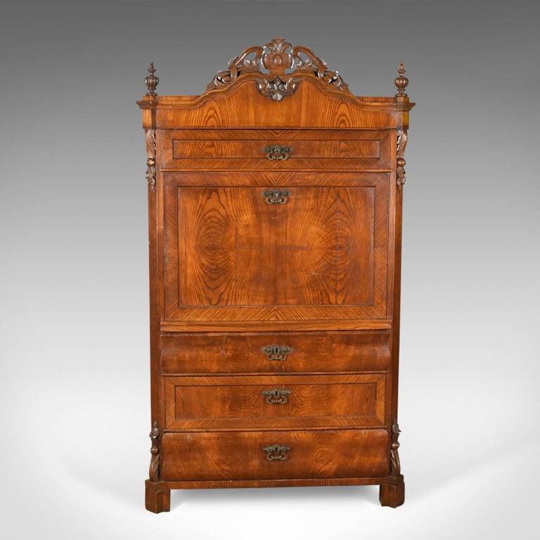 Antique Bureau Desk, French, Escritoire, Oak, 19th Century, circa 1870 4