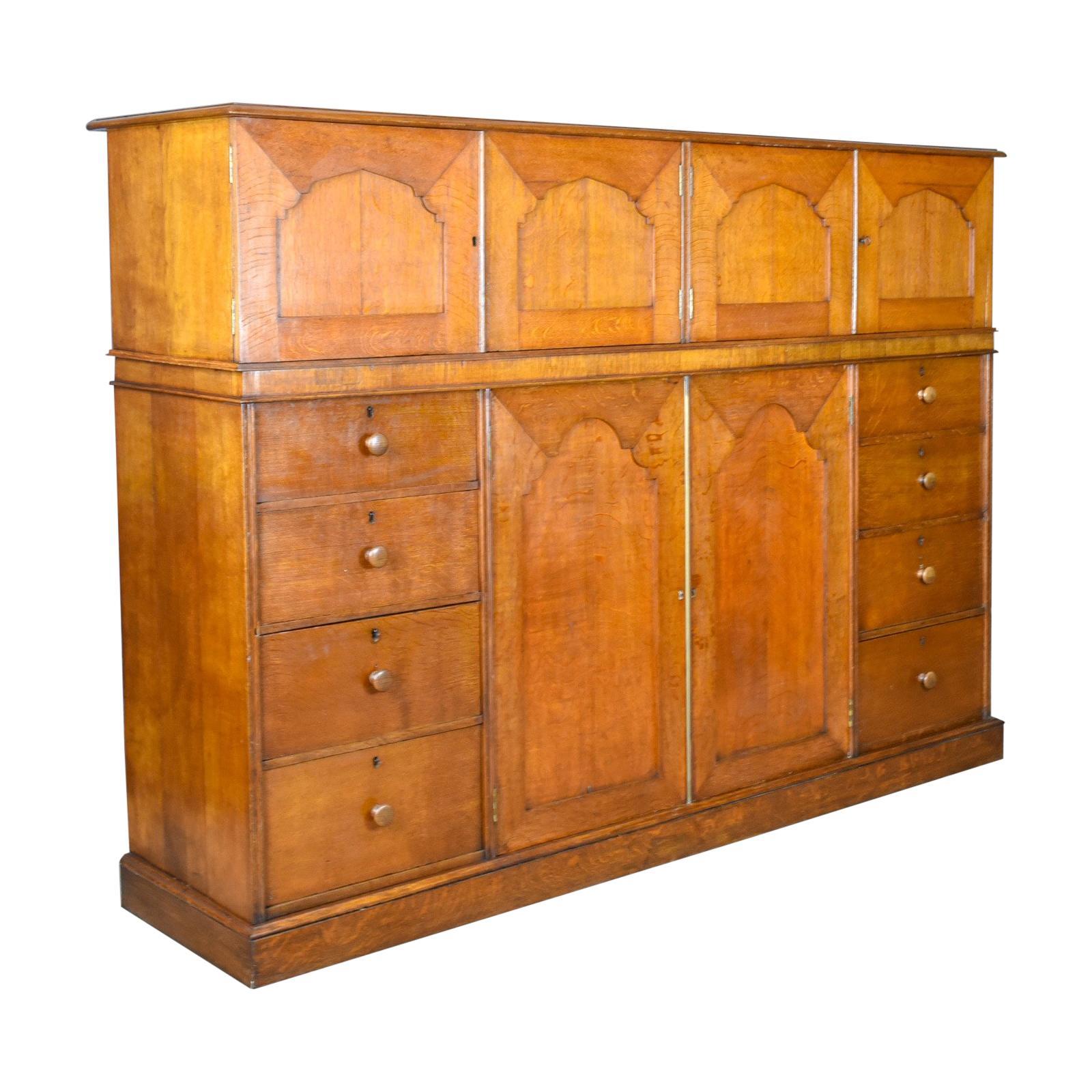 Large Antique Estate Manageru0027s Cupboard, Oak, English Victorian Cabinet