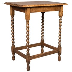 Antique, Side Table, English, Edwardian, Oak, Stretcher, circa 1910