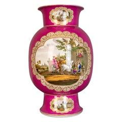 Antique, Vase, Large, German, Porcelain, Flower, Ar, Ceramics Late 19th Century