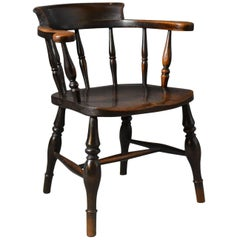 Antique Bow-Back Chair, English Victorian Elm Windsor, circa 1870