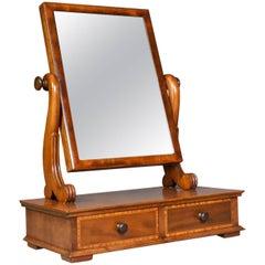 Adjustable Antique Toilet Mirror, English, Edwardian, Walnut Swing Frame