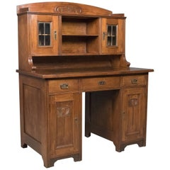 Antique Art Nouveau Desk, English, Victorian, Walnut Cabinet Liberty-Esque