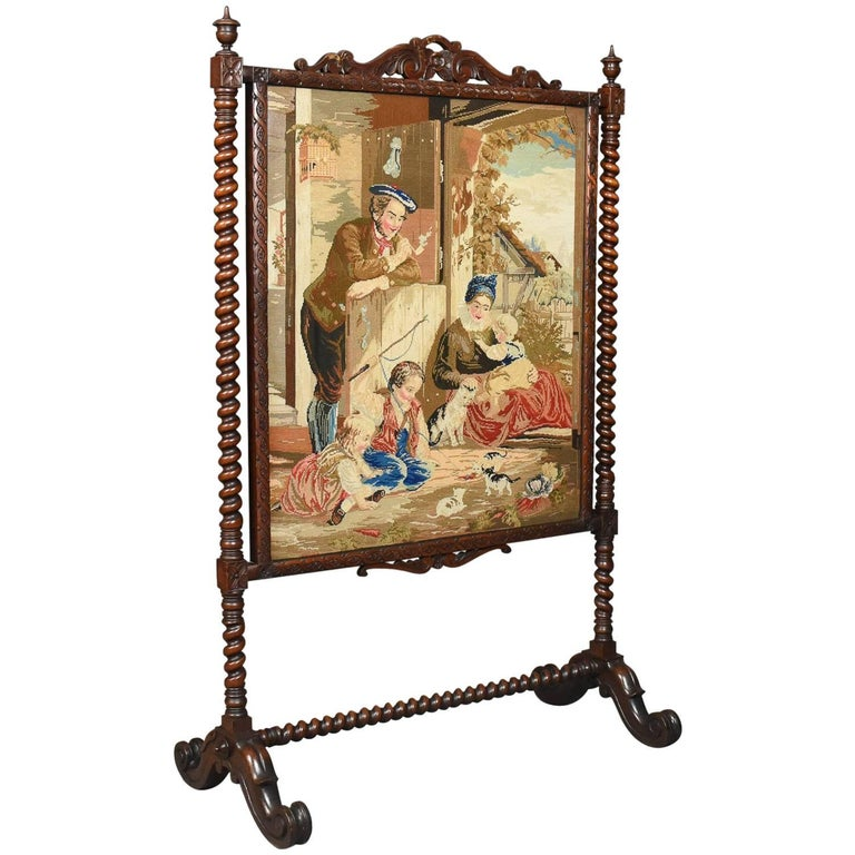 Large Antique Fire Screen, Needlepoint Tapestry Panel