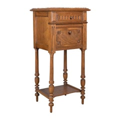 Antique Pot Cupboard, French, Marble Top, Bedside Cabinet, Nightstand circa 1900