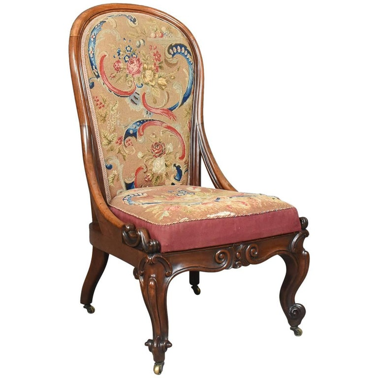 Antique Nursing Chair, English Walnut, Needlepoint Tapestry Victorian circa  1840 For Sale - Antique Nursing Chair, English Walnut, Needlepoint Tapestry