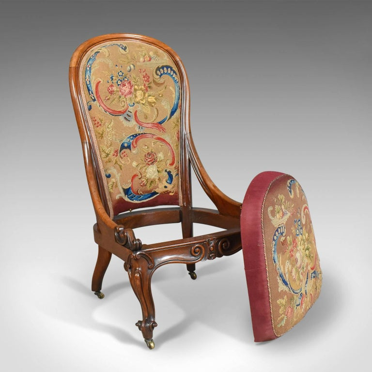 Antique Nursing Chair, English Walnut, Needlepoint Tapestry Victorian circa  1840 For Sale 1 - Antique Nursing Chair, English Walnut, Needlepoint Tapestry