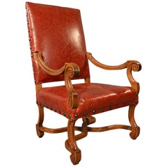 Large Antique Leather Armchair, Walnut Frame, French 19th Century, circa 1880