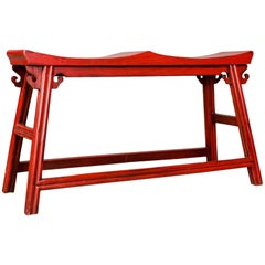 Traditional Chinese Two-Seat Bench, 20th Century, Red, Lacquer