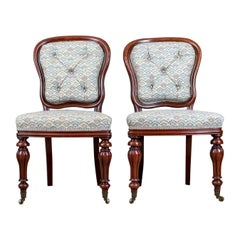 Pair of Chairs, William IV, Mahogany, Button Back, Parlour, Side, circa 1835