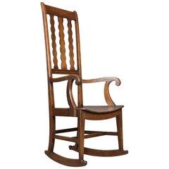 Antique Rocking Chair English Victorian, Mahogany Wavy Line Rocker, circa 1850