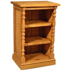 Antique Pine Narrow Bookcase Cabinet, Original English Victorian, circa 1900