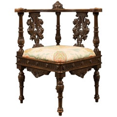 Antique Corner Armchair, Carved Victorian Chair, circa 1870