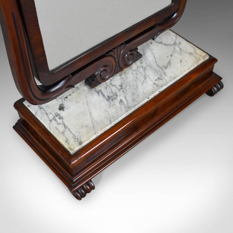 Large Antique Vanity Mirror, English, Victorian Marble, circa 1850 For Sale 2