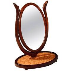 Regency Mahogany Marble Oval Mirror Dressing Swing Vanity, English, circa 1840