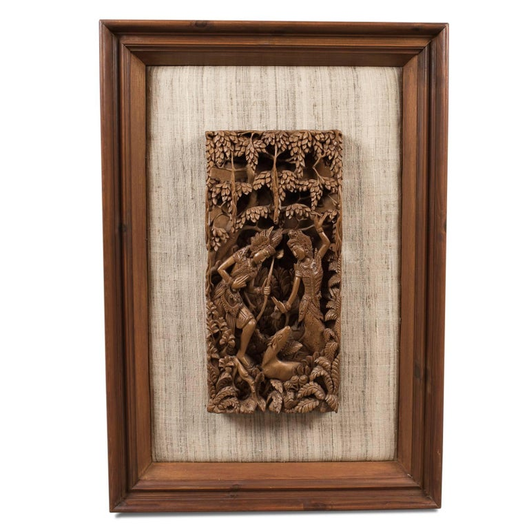 Framed Balinese Carved Wall Panel, Midcentury Decorative Art For Sale